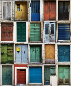 Collage of old doors, (c) Fotolia.com, drKaczmar, 17656482