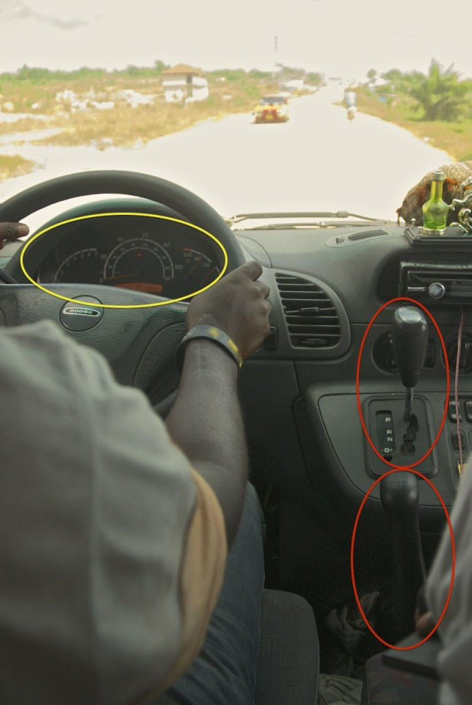 Driving an African bus with automatic and manual gearshift